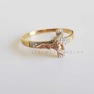 18K Gold Filled Handmade Women Christ Ring